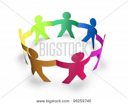 Team, Togetherness And Multiplicity Concept With 3D Colorful People In Ring Isolated On Whit.