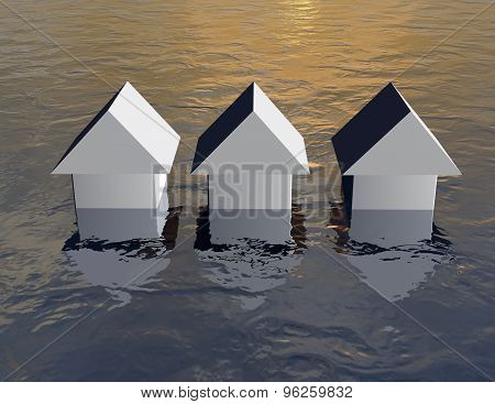 Flood Concept With Simple 3D Houses Under Water.