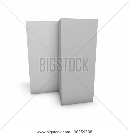 Tall Triple Pages Leaflet, Restaurant Menu Standing On Floor With Shadow, Blank Grey Pages, Isolated
