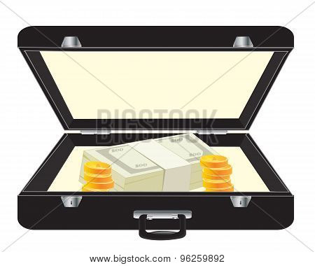 Black case with money