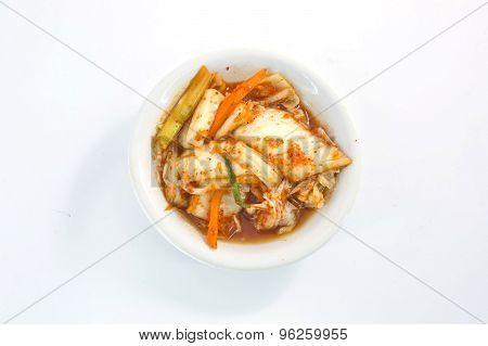 Close-up Kimuchi On White Dish Isolate On White Background