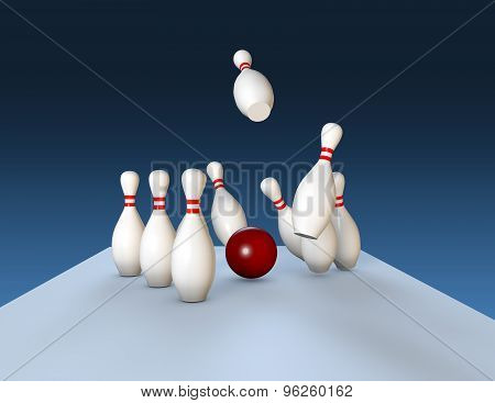 Aim And Winning Concept With Bawling Pins And Ball. Blue Background.