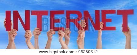 Many People Hands Holding Red Straight Word Internet Blue Sky