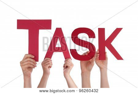 Many People Hands Holding Red Straight Word Task