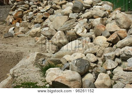 Pile Of Rocks Recovered From An Old Building.