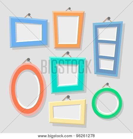 Vintage Cartoon Photo Picture Painting Drawing Frame Template Icon Set on Stylish  Wall Background R