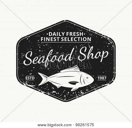 Retro Styled Seafood Shop Label Template