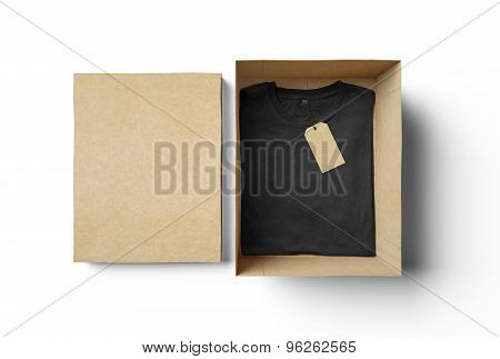 Empty isolated box and black tshirt with label