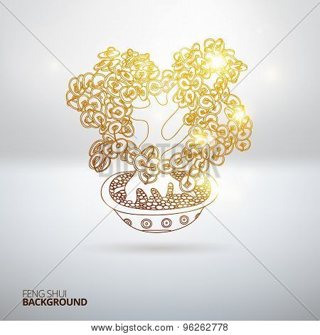 Vector illustration with Feng Shui money tree.