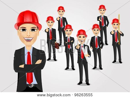 construction engineer worker builder set