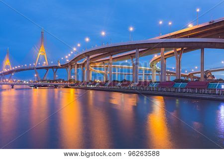 City highway curved and Suspension bridge with water front view