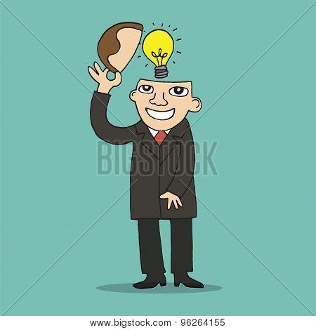 Illustration Of Idea Bulb In Stylized Business Man Head.vector Illustration.