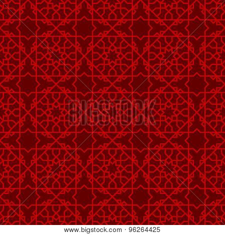 Seamless Chinese window tracery star line pattern background.