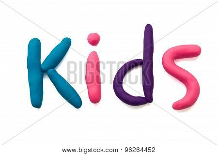 plasticine kids letter on white background