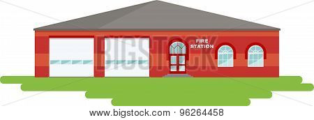 Panoramic background with fire station building in flat style.