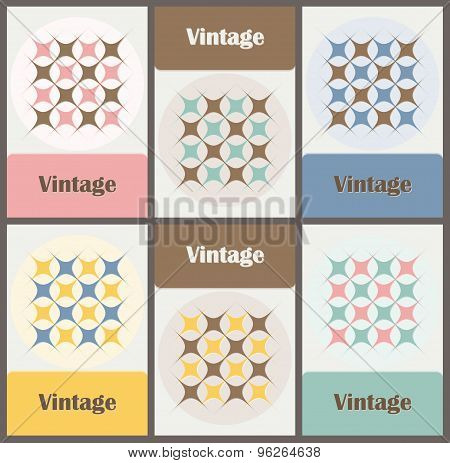 Set Of Cards In Vintage Colors