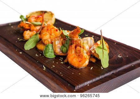 Roasted Hulled Shrimps With Leafs On Dark Wooden