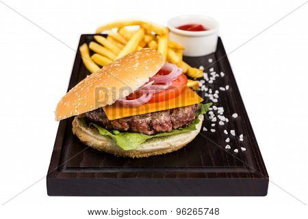 Classic Burger With Juice Meat Cutlet With Potato And Ketchup