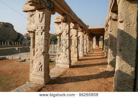Pillars of ruined temple in hampi