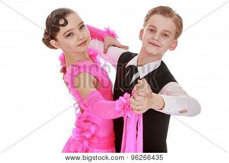 Beautiful youth dance couple, the children speak
