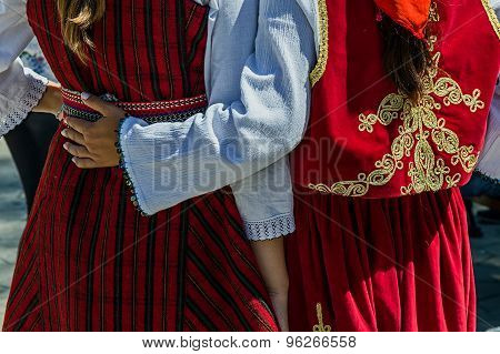 Detail Of Turkish And Macedonian Folk Costumes For Women