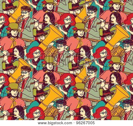 Musicians crowd seamless pattern color