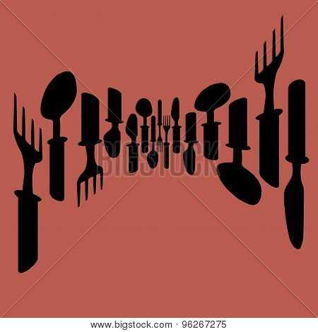Template For Menu Card Cutlery Menu With Cutlery Vector Illustration