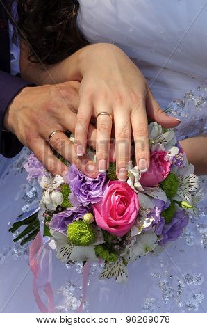 Wedding Couple Showing Rings