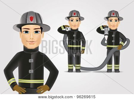 firefighter in black uniform with fire hose