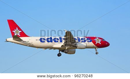 ZURICH - JULY 18: Airbus A319, Edelweiss Air landing in Zurich after short haul flight on July 18, 2015 in Zurich, Switzerland. Zurich airport is home for Swiss Air and one of biggest European hubs.