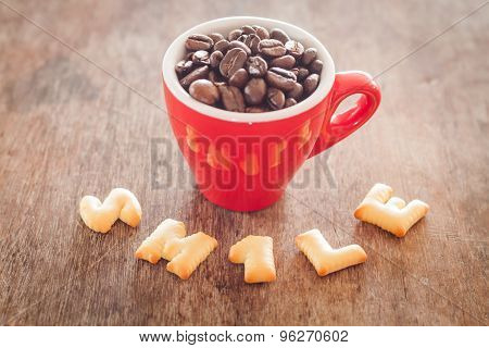 Smile Alphabet Biscuit With Red Coffee Cup