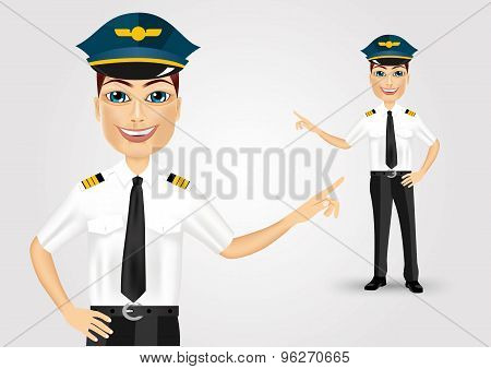friendly pilot showing something