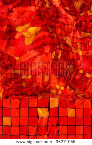 Red Mosaic Rippled Water In Swimming Pool