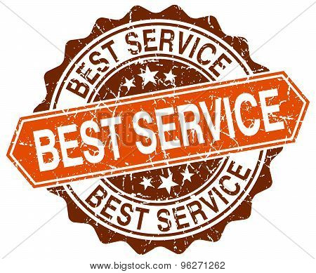 Best Service Orange Round Grunge Stamp On White