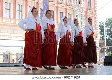ZAGREB, CROATIA - JULY 18: Members of folk group Natko Nodilo from Babino Polje, Croatia during the 49th International Folklore Festival in center of Zagreb, Croatia on July 18, 2015