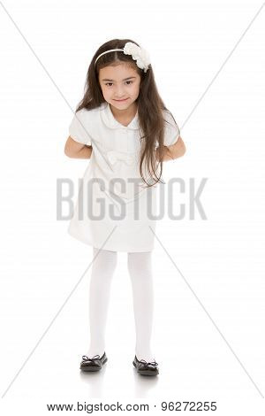 cute beautiful long-haired little girl