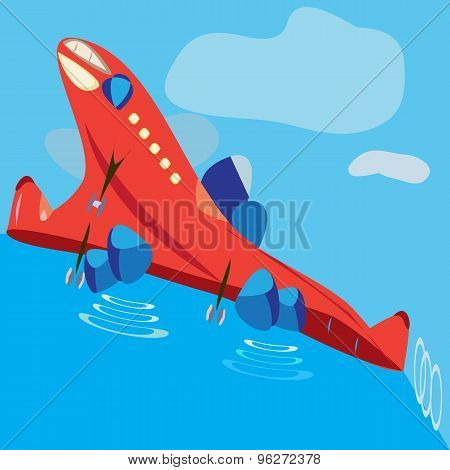 Flat Graphic Funny Aircraft On Takeoff