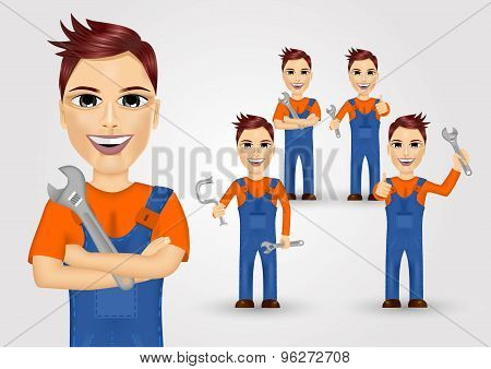 young plumbers dressed in work clothes