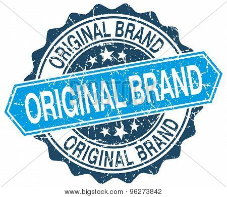 Original Brand Blue Round Grunge Stamp On White