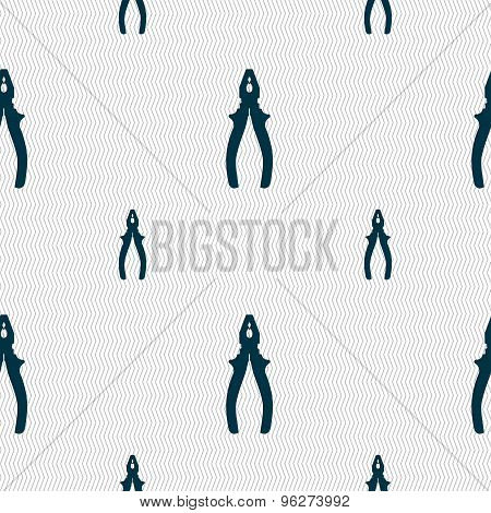 Pliers Icon Sign. Seamless Pattern With Geometric Texture. Vector