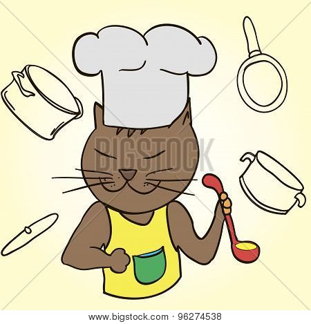 Cat Chef With Ladle In His Paws And Cap