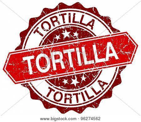 Tortilla Red Round Grunge Stamp On White