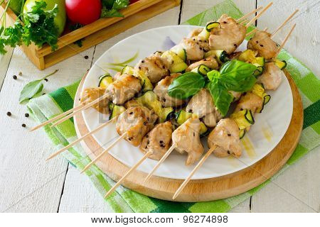Bbq Chicken Kebabs With Zucchini