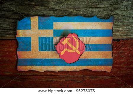 Greek flag communist concept