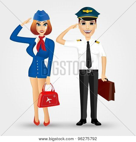 beautiful stewardess and handsome pilot