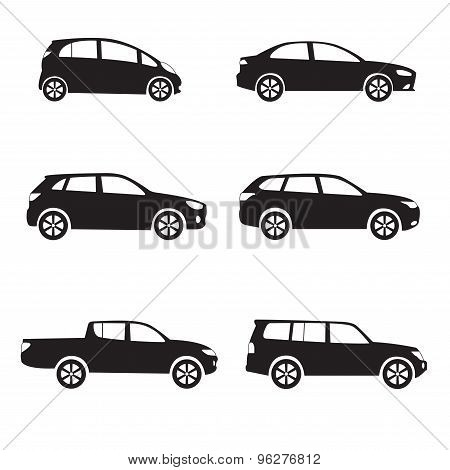 Car or vehicle icon set. Different vector car form.
