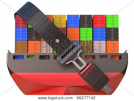 Container Ship With Safety Belt, Safety Delivery Concept