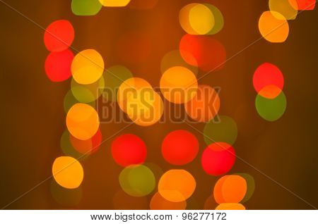 abstract background. Red and orange blurred bokeh circles