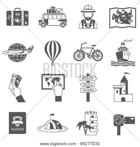 Travel Icons Black Set