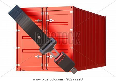 Container With Safety Belt, Safety Delivery And Insurance Concept